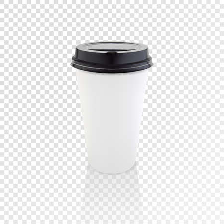 Realistic paper coffee cup vector mockup. Illustration