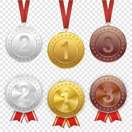 Set of gold, silver and bronze award medals with red ribbons. Vector set, isolated on transparent background. Premium badges. Coins buttons icons.