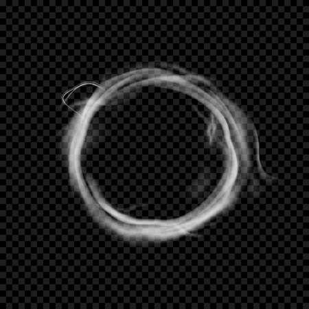 Vector smoke ring. Realistic circle vape texture. Transparent cloud shape.
