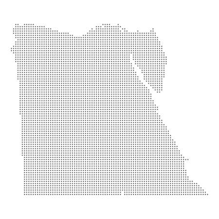Dotted map of Egypt on white background, vector illustration.