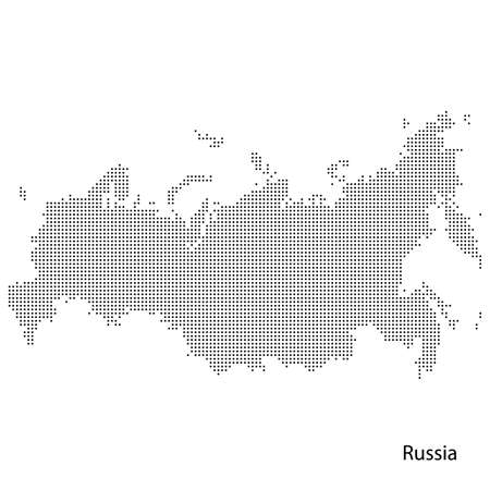 Dotted map of Russia.
