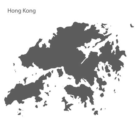 Gray map of Hong Kong. Vector eps10.