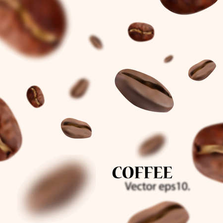 Vividly flying realistic coffee beans with blur effect. White background. Vector illustration