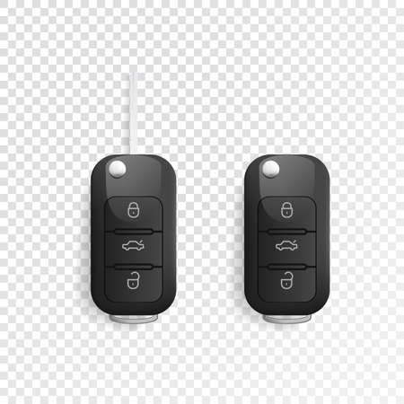 Car Key and of the alarm system. 3d realistic mockup. Vector illustration. Isolated on white background Illustration