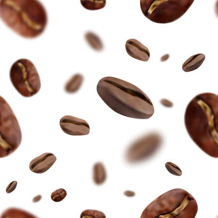 Vividly flying seamless realistic coffee beans with blur effect. White background. Vector illustration