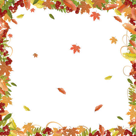 Frame of autumn leaves. Yellow and red autumn leaves and a bunch of mountain ash. Decorative frame for the page. Vector illustration. Clipping mask.
