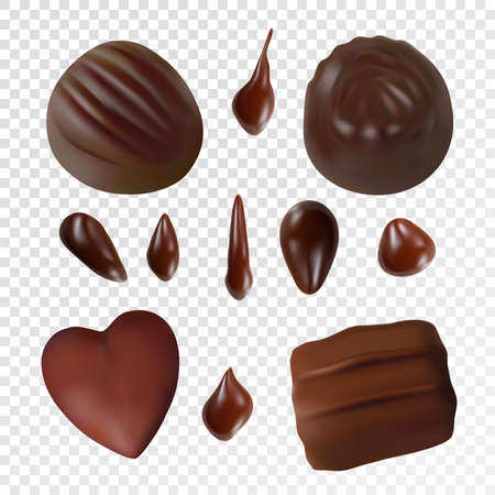 Assorted chocolates on transparent background Vector realistic set of chocolate drops and sweets candies