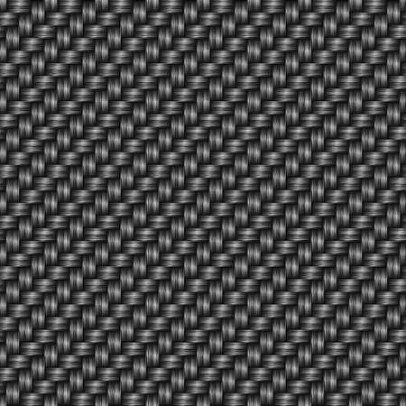 Black vector carbon seamless fiber. Abstract cloth material wallpaper pattern.