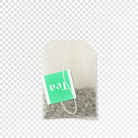 Realistic disposable tea bag vector. Illustration