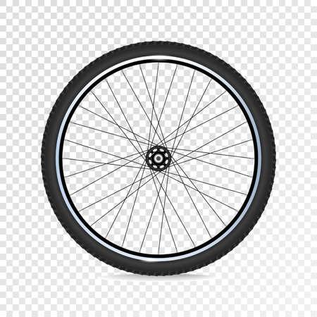 Roue de vélo de montagne avec jantes polies. 3D réaliste. Vecteur eps10.