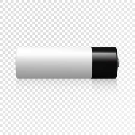 Realistic black and white battery icon. Vector illustration