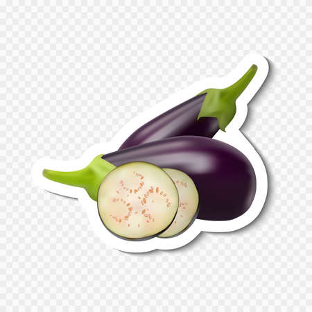 Eggplant and slice icon isolated on transparent. Photo-realistic.