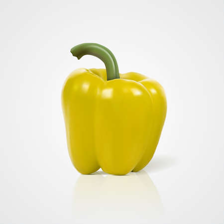 Photo-realistic vector illustration of yellow sweet bell pepper paprika. Vector simbol icon