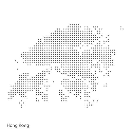 Carte en pointillé abstraite de Hong Kong. Illustration vectorielle