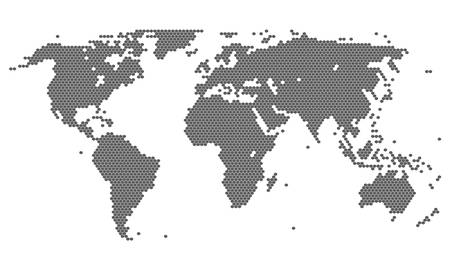 Hexagon dotted world map. Abstract dot world map. Pixel gray map isolated on white background.
