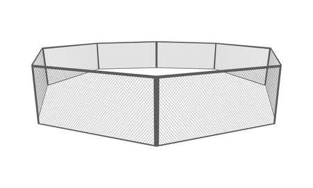 MMA cage. Octagon arena Vector