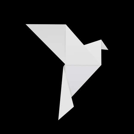Origami white paper dove, isolated on black. Vector 3d realistic object