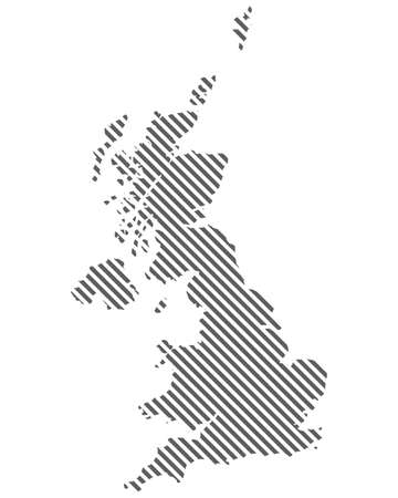 Abstract map of United Kingdom Great Britain. Diagonal lines. Vector eps10