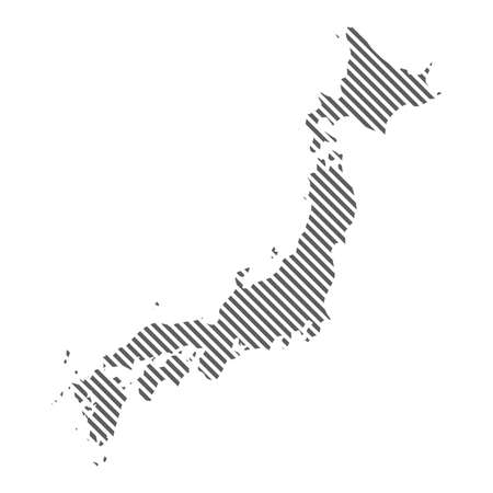 Abstract map of Japan. Diagonal lines. Vector eps10.