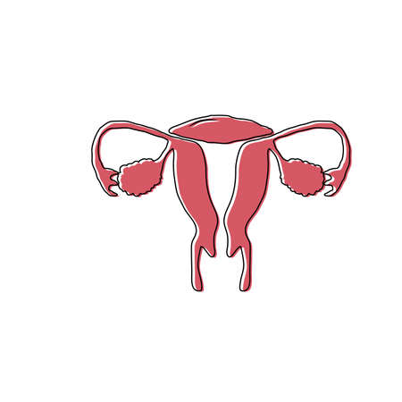 Womb or uterus icon. Hand-drawn cartoon feminine health or anatomy sketch. Doodle drawing. Overlay print with offset. Vector illustration.