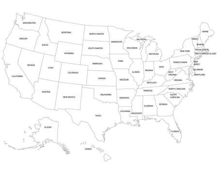 USA map. Very high accurate drawing. Alaska, Hawaii, USA. Vector Векторная Иллюстрация