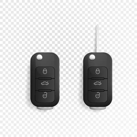Car Key icon and of the alarm system. 3d realistic mockup. Vector illustration. Isolated on white background.