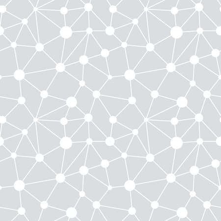 Vector seamless background. Irregular abstract linear grid with circles in nodes. Graphical hand drawn pattern. Vector.