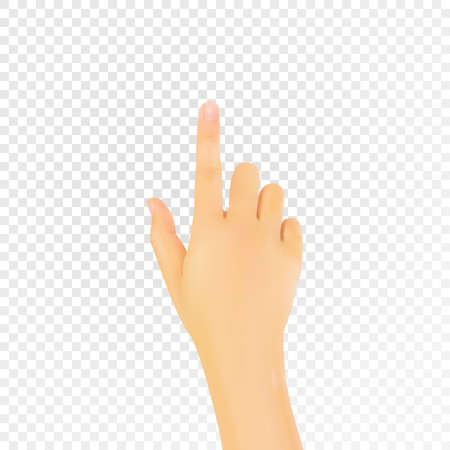 Realistic 3D hand with an index finger. Vector eps10. Illustration