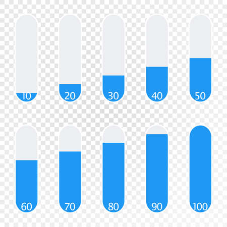 User interface power slider buttons. Progression from 10 to 100 percent