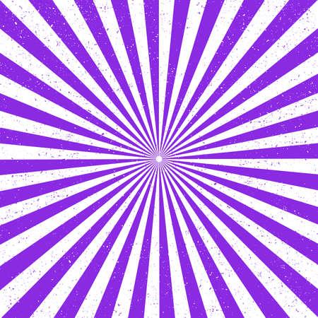 Raggio di sfondi o raggi di sole astratti. Modello Sunburst. Illustrazione vettoriale. I raggi del sole. Colore viola protonico. Vecchia carta con macchie. Vettoriali