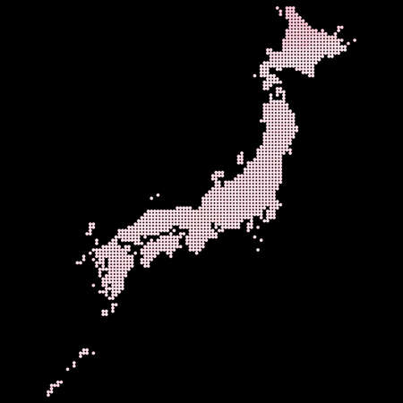 National corporate color Japan, Japan dot map vector. Japan watercolor. Illustration