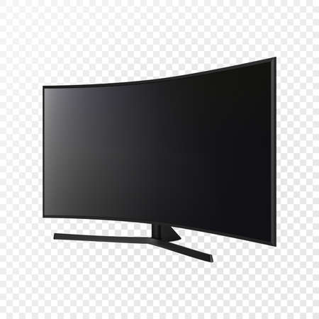 Curved TV screen lcd, led, plasma. Realistic vector illustration