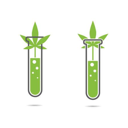 Set of cannabis  . Hemp oil, test tube and marijuana leaf.