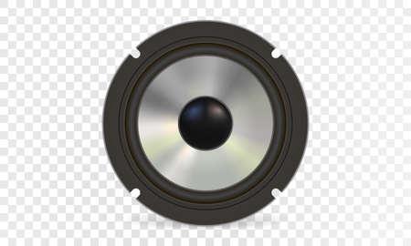 Audio speaker on white background. Steel diffuser. Vector eps10. Ilustração