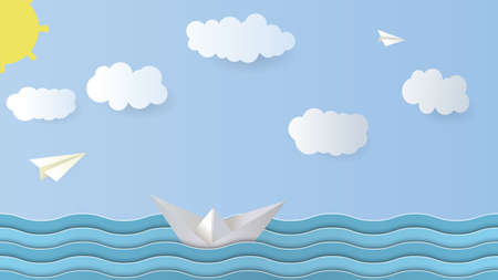 Vector Paper Background. Paper boat, airplane, sea, sky, cloud sun Origami Vector Illustration. Vektoros illusztráció