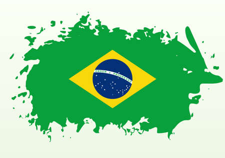 Brushstroke abstract flag of Brazil, isolated on white background. Vector eps10.