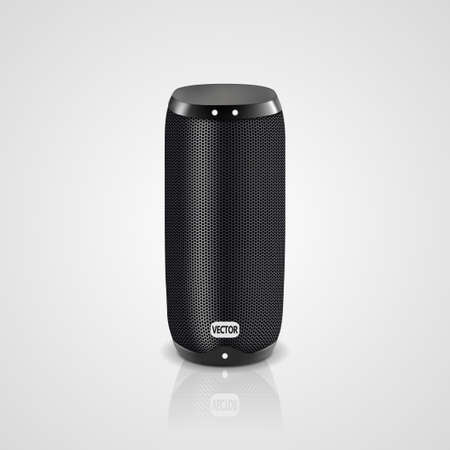 Vector realistic illustration of black portable speaker isolated on light gradient background. Wireless audio device, smart electronic gadget for connection with smartphone to listen music