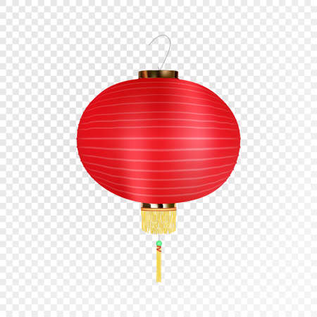 Chinese paper lantern sign isolated on transparent background.
