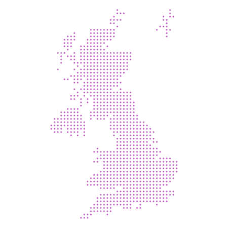 abstract dotted polka dot map of united kingdom