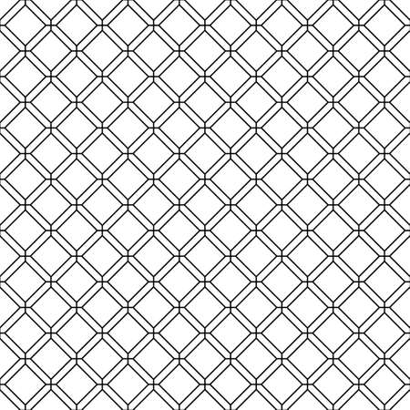 Abstract geometric pattern background with rhomb and octagon texture. Black and white seamless grid lines. Vector simple minimalistic pattern