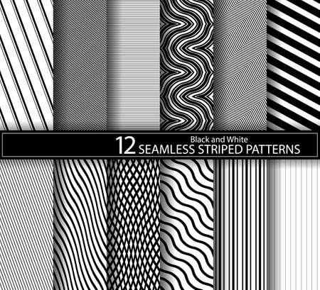 Collection of seamless striped textures black and white design.