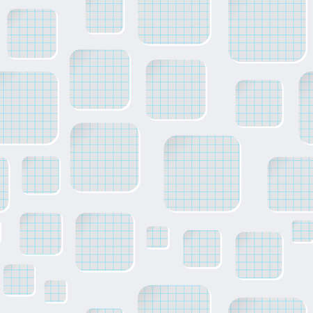 Seamless pattern with rounded squares carved on paper. 3d sample design. Checkered leaf texture in the background