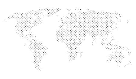 Dotted map of World. Texture dots points rings random thickness and size. Vector eps10 Çizim