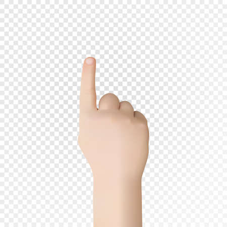 Realistic 3D hild hand with an index finger. Vector eps10.