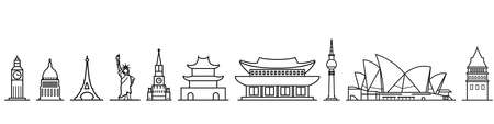 Set of vector outline icons of major cities capitals