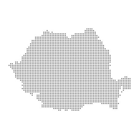 Vector dotted polka dot map of Romania isolated on white background.