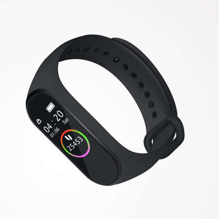 Realistic black fitness bracelet, with infographics measuring balls, 04:20 time. In 3D perspective