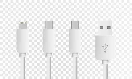 Most of standard USB type-C plugs, micro, lightning, universal computer white cable connectors, top view. Vector eps10