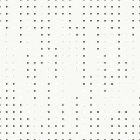 Random size dots seamless pattern. Parallel and perpendicular bands of dots. Monochrome minimalistic chaotic background