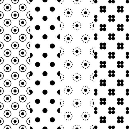 Simple dotted patterns. Seamless vector collection. Black and white minimalistic texture. Ilustrace